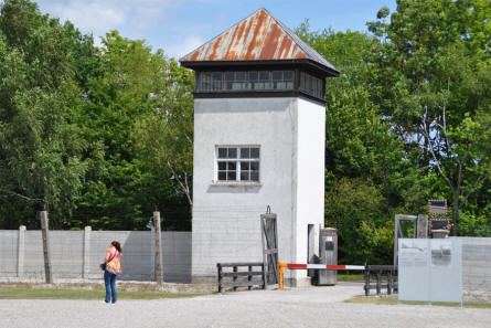 One of the guard towers and entrances into the Dachau Concentration Camp - just outside Munich (München).