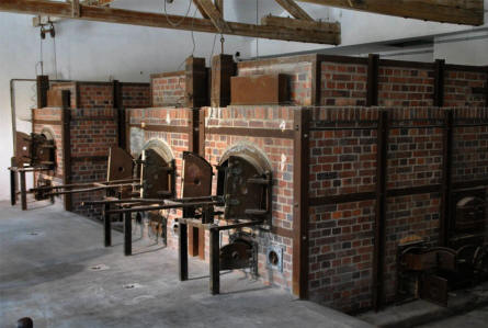 "Some of the crematoria ovens inside the ""new"" crematorium at the Dachau Concentration Camp - just outside Munich (München)."
