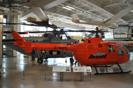 A MBB BO-105 helicopter displayed at the Deutsches Museum München.