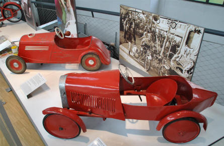 Two of the vintage toy cars displayed at the Deutsches Museum - Transport Collection - in München (Munich).