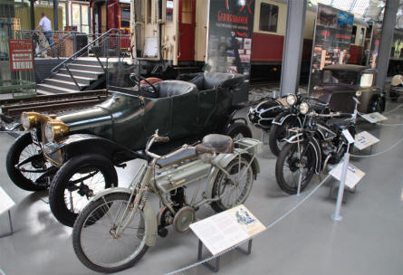 Some of the vintage trains, automobiles and motorcycles displayed at the Deutsches Museum - Transport Collection - in München (Munich).