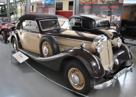 A classic Horch automobile displayed at the Deutsches Museum - Transport Collection - in München (Munich).