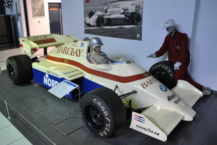 A 1984 Arrows Type A 7-1 Formula 1 car displayed at the EFA - Museum of German Automobile History in Amerang/Chiemgau.