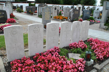 The graves - on the Oberschleibheim Cemetery - of six Commonwealth air men from the Royal Air Force who were shot down over Germany on the 21st of December 1942.