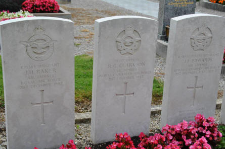 The graves Sergeant J. H. Baker, Pilot officer R.G. Clarkson and Flight Sergeant J. F. Edwards on the Oberschleibheim Cemetery. All killed on the 21st of December 1942.