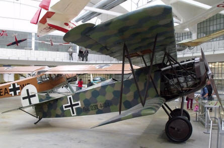 A World War I Fokker DVII displayed at Deutsches Museum Airfield Schleissheim - Oberschleissheim.