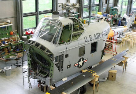 An American Sikorsky S-58 (H-34 G) being restored at Deutsches Museum Airfield Schleissheim - Oberschleissheim.
