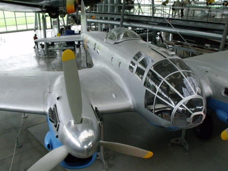 A World War II Heinkel He 111 H-16 (CASA 2.111 B) bomber displayed at Deutsches Museum Airfield Schleissheim - Oberschleissheim.