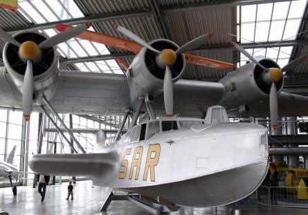 A World War II Dornier Do 24 T-3 flying boat displayed at Deutsches Museum Airfield Schleissheim - Oberschleissheim.