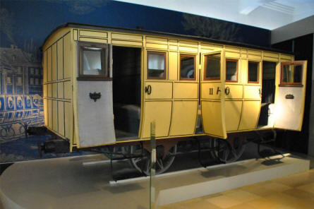 One of the vintage railway wagons displayed at the DB Museum Nürnberg.