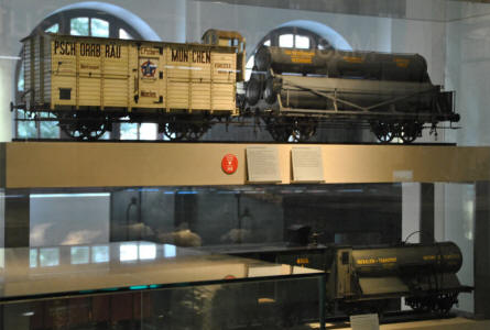 Some of the larger scale model railway wagons displayed at the DB Museum Nürnberg.