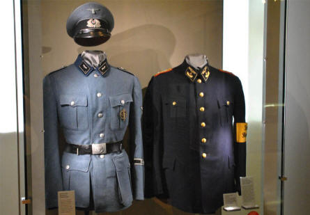Railway uniforms from the 1930's and 1940's displayed at the DB Museum Nürnberg.