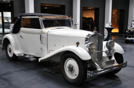 A vintage Maybach automobile displayed at the Museum for Historic Maybach Vehicles in Neumarkt.