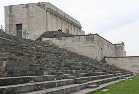 The original remains of the Zeppelinfeld grandstand - at the Former Nazi Party Rally Grounds in Nürnberg - where Hilter made some of his historical speeches.