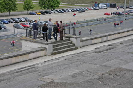 The speakers platform of the Zeppelinfeld - at the Former Nazi Party Rally Grounds in Nürnberg. The railings around the platform are not original and have been replaced for safety.
