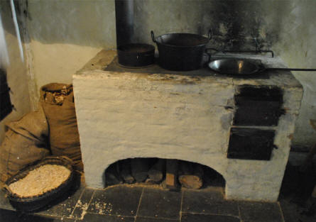 "The old kitchen in of the houses at the Open-air museum ""Beuren""."