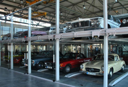 A few of the many classic sports cars that was stored at the Meilenwerk Stuttgart in August 2011.