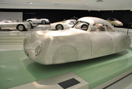 "The original ""Ur-Porsche"" design displayed at the Porsche Museum in Stuttgart."