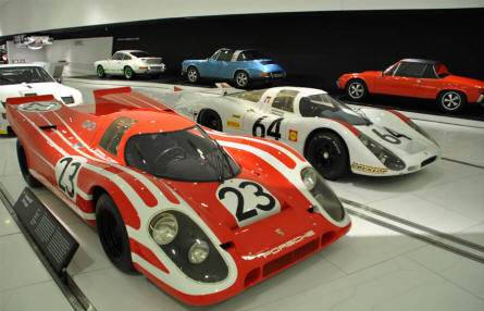Some of the many Porsche race and sports cars displayed at the Porsche Museum in Stuttgart.