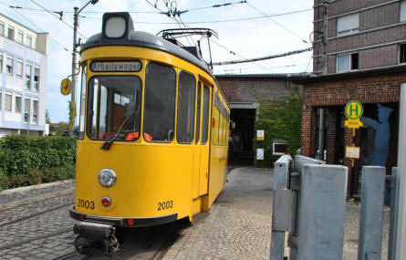 A special tram for repair works displayed outside the Tram Museum - Zuffenhausen in Stuttgart.