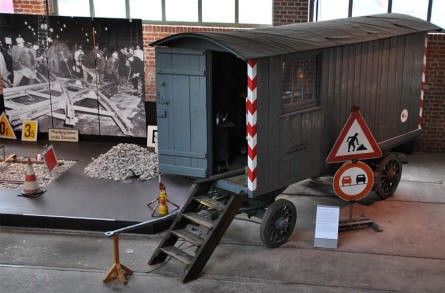 A construction site for tram tracks displayed at the Tram Museum - Zuffenhausen in Stuttgart.