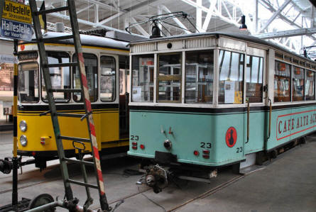Two of the many different types of trams displayed at the Tram Museum - Zuffenhausen in Stuttgart.