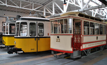 Some of the different types and ages of trams displayed at the Tram Museum - Zuffenhausen in Stuttgart.
