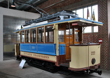One of the oldest trams displayed at the Tram Museum - Zuffenhausen in Stuttgart.