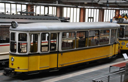 One of the many different types of trams displayed at the Tram Museum - Zuffenhausen in Stuttgart.