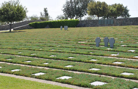 Some of the many World War II graves at the Maleme German War Graves on Crete.