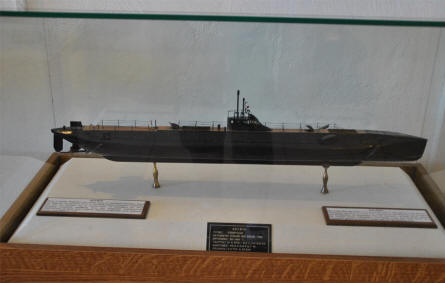 A ships models of a u-boat displayed at the Nautical Museum of Crete in Chania.