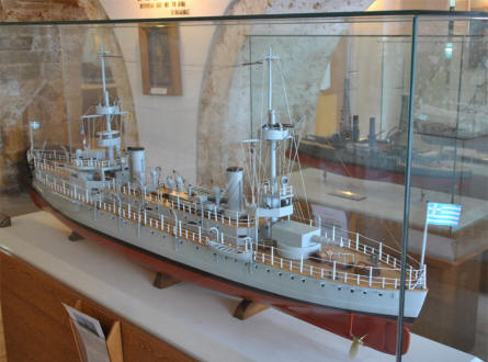 One of the many navy ships models displayed at the Nautical Museum of Crete in Chania.
