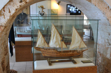 One of the many ships models displayed at the Nautical Museum of Crete in Chania.