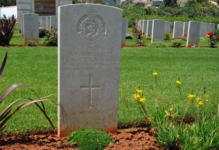 One of the many World War II graves at the Suda Bay War Cemetery on Crete. This grave belongs to Captain T.V. Somerville (Royal Army Medical Corps - highly decorated) who died on the 23rd of November 1941.