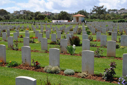 Some of the many World War II graves at the Suda Bay War Cemetery on Crete.