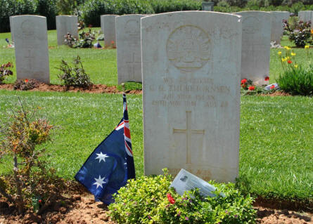 One of the many many Australian World War II graves at the Suda Bay War Cemetery on Crete. This grave belongs to Private C. G. Thorbjornsen who was killed on the 20th of May 1941.