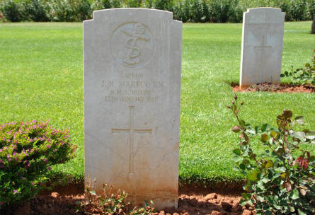 The grave of Captain J. H. Martin (died on the 17th of January 1891) is one of the oldest graves at the Suda Bay War Cemetery on Crete.
