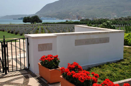 The entrance to the Suda Bay War Cemetery on Crete.
