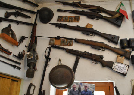 Some of the many World War II weapons displayed at the War Museum of Askifou on Crete.