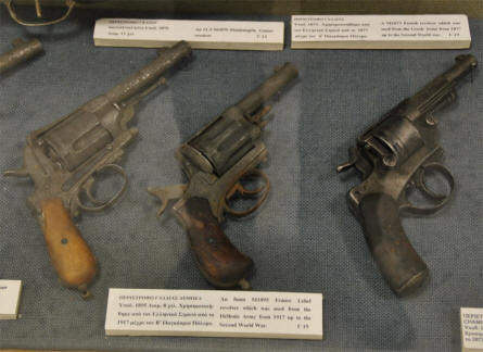 Three of the World War II pistols displayed at the War Museum of Chania on Crete.