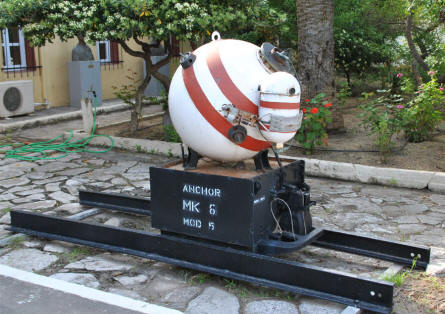 A World War II sea mine displayed outside the War Museum of Chania on Crete.