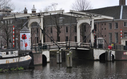 One of the beautiful bridges that connect the many different parts of Amsterdam.
