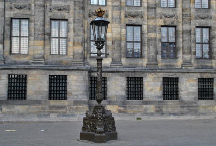 One of the beautiful lampposts outside the Royal Palace of Amsterdam.