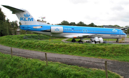 A Fokker commercial jet displayed at the National Aviation Theme Park - Aviodrome - in Lelystad.