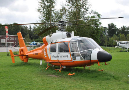 An Eurocopter AS365 Dauphin displayed at the National Aviation Theme Park - Aviodrome - in Lelystad.