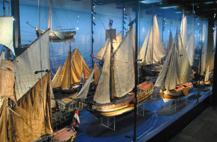 Some of the many very detailed ship models displayed at the National Maritime Museum in Amsterdam.