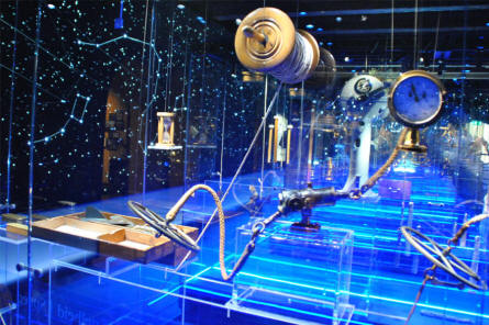 Some of the historic maritime instruments displayed at the National Maritime Museum in Amsterdam.