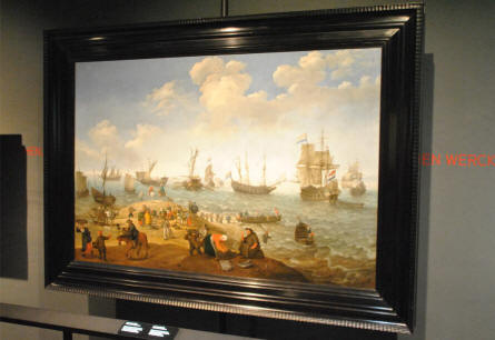 One of the many maritime paintings displayed at the National Maritime Museum in Amsterdam.
