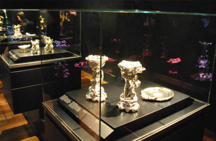 Some of the vintage silver and gold items displayed at the Rijksmuseum in Amsterdam.