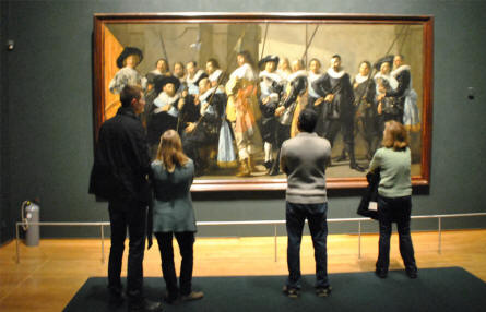 One of the many large classic painting displayed at the Rijksmuseum in Amsterdam.